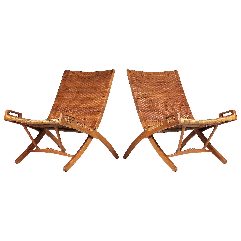Hans Wegner Cane and Oak Folding Chairs for Johannes Hansen of Denmark