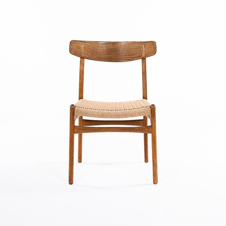 Mid-Century Modern Hans Wegner CH 23 Chairs in Oak and Papercord, Denmark 1950s, Set of 6 For Sale