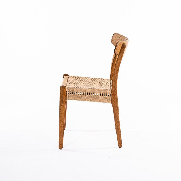 Danish Hans Wegner CH 23 Chairs in Oak and Papercord, Denmark 1950s, Set of 6 For Sale