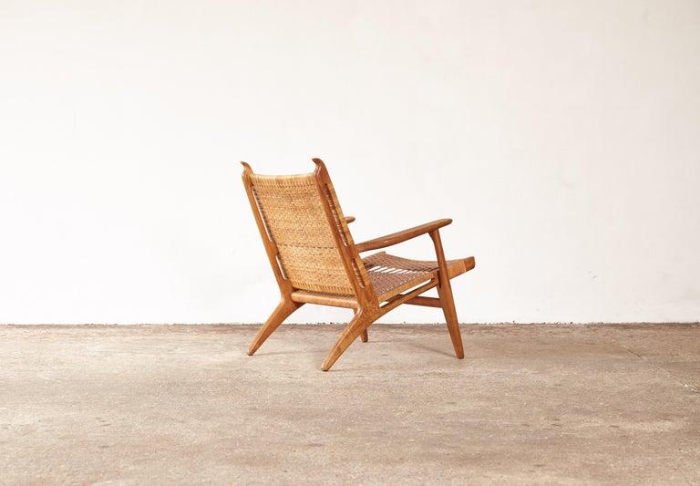 Rattan Hans Wegner CH-27 Chair, Carl Hansen & Son, Denmark, 1950s For Sale