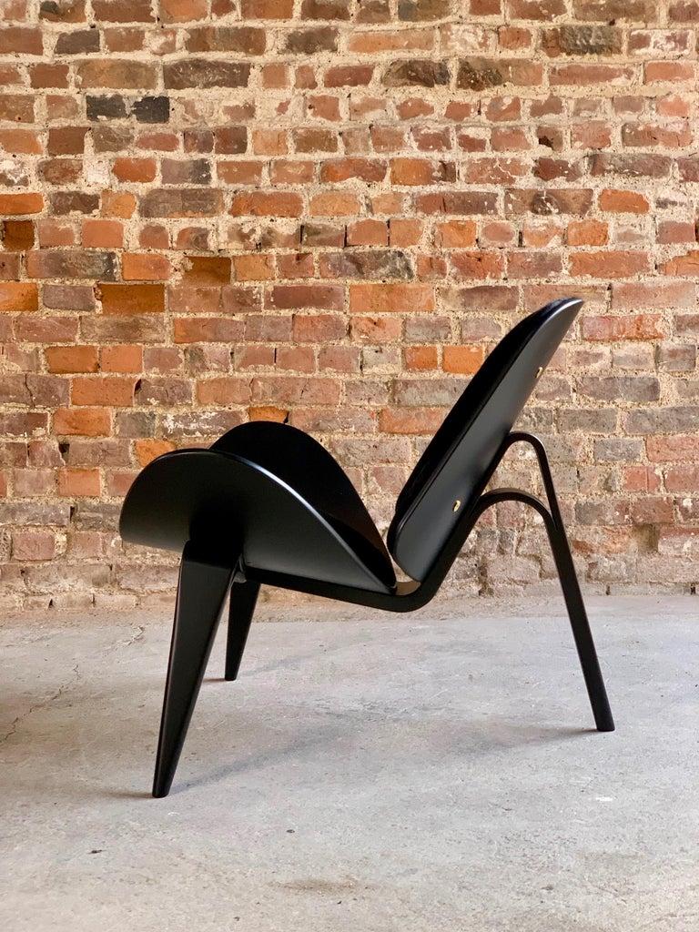 Hans Wegner CH07 Black Shell Chair Carl Hansen & Son, Denmark, Midcentury Danish For Sale 10