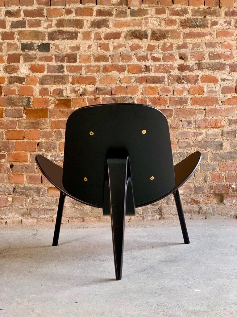 Hans Wegner CH07 Black Shell Chair Carl Hansen & Son, Denmark, Midcentury Danish For Sale 13