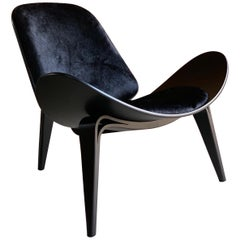 Hans Wegner CH07 Black Shell Chair Carl Hansen & Son, Denmark, Midcentury Danish