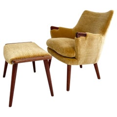 Hans Wegner CH71 Lounge Chair and Ottoman, Restored in Pierre Frey Teddy Mohair