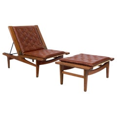 Hans Wegner Chaise Lounge and Ottoman