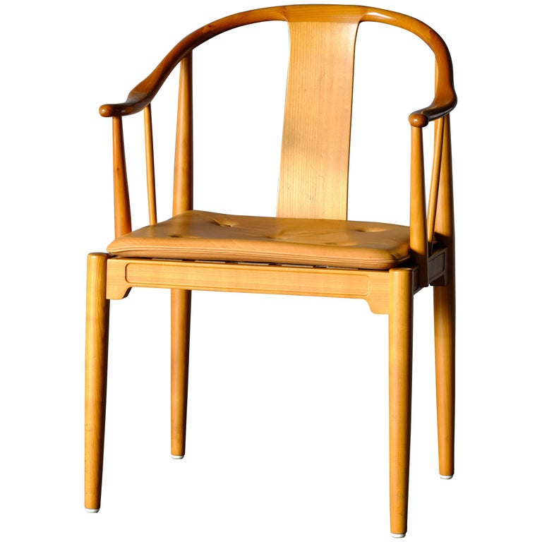 """Mid Century Hans Wegner """"China Chair"""" in Cherry For Sale"""