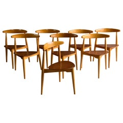 Hans Wegner Dining Chairs Heart Shape Model FH 4103 Fritz Hansen, Denmark, 1950s