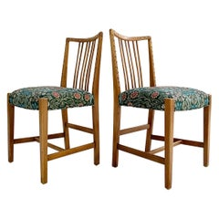 Hans Wegner Dining Chairs in William Morris Blackthorn, Pair