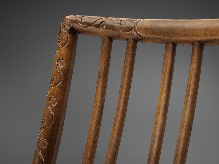 Fabric Hans Wegner Early 'ML-33' Rocking Chair For Sale