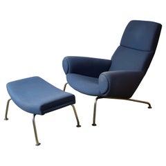 Hans Wegner, Early Ox Chair with Ottoman, Steel, Fabric, AP Stolen, Denmark 1960