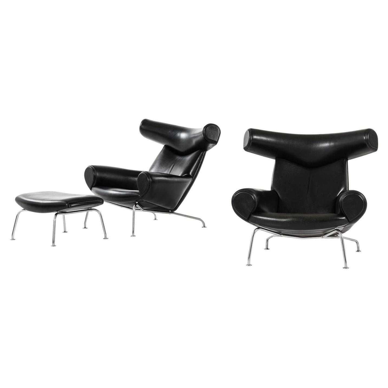 Hans Wegner Easy Chairs and Stool Model EJ-100 by Erik Jørgensen in Denmark
