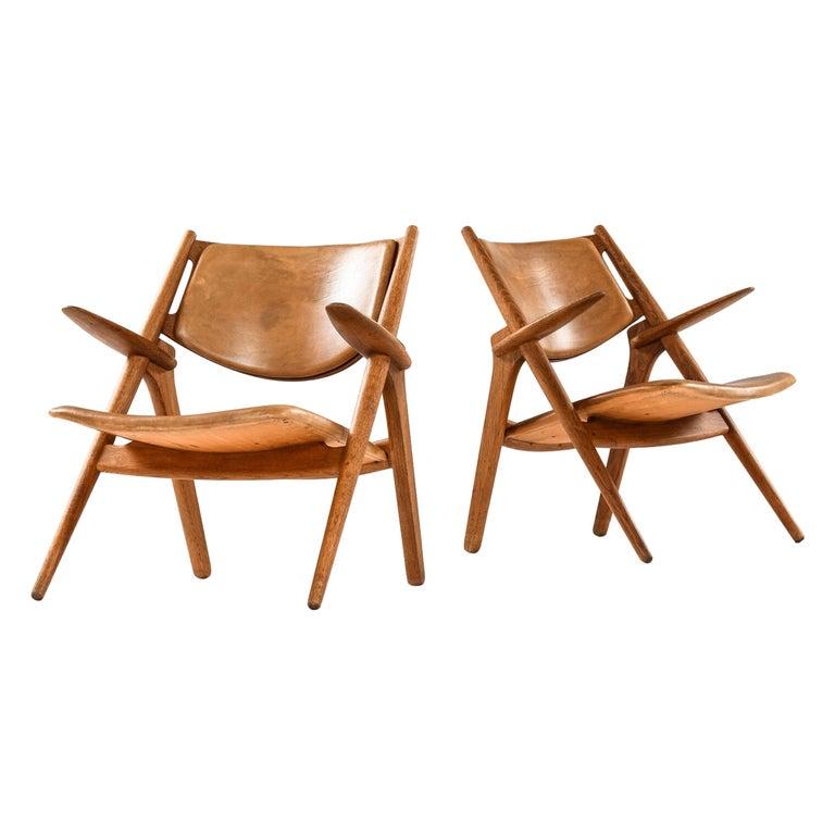 Hans Wegner Easy Chairs Model CH-28 Produced by Carl Hansen & Søn in Denmark For Sale