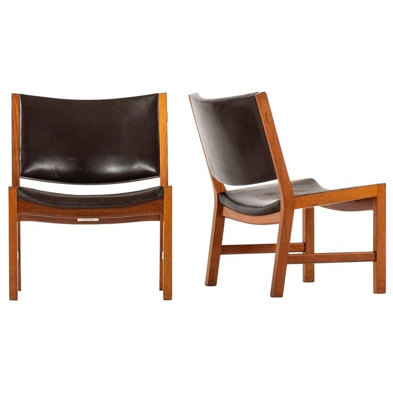 Hans Wegner Easy Chairs Model JH54 by Cabinetmaker Johannes Hansen in Denmark For Sale