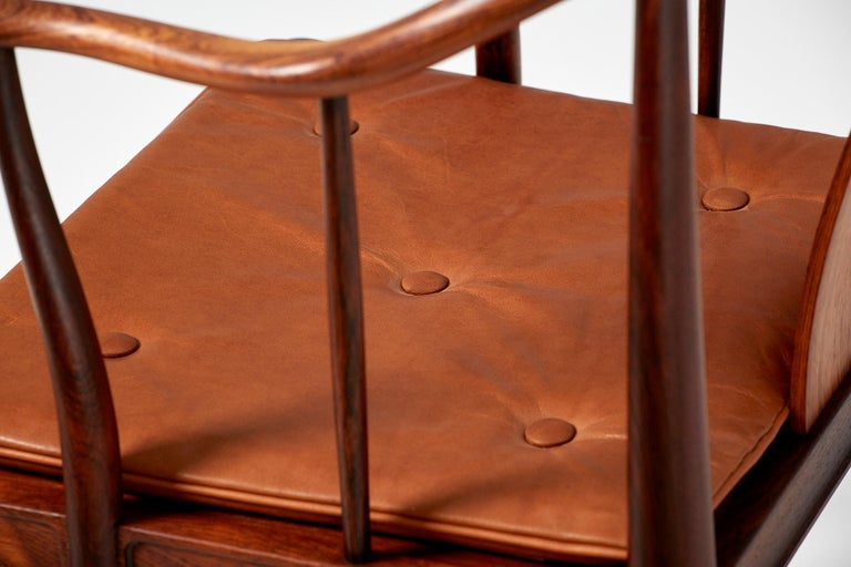 Leather Hans Wegner FH-4283 Rosewood China Chair
