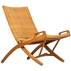 Hans Wegner Pp512 Hand Woven Cane Folding Chair With Hook