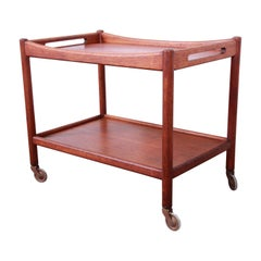 Hans Wegner for Andreas Tuck Danish Modern Teak Serving Trolley Bar Cart, 1950s