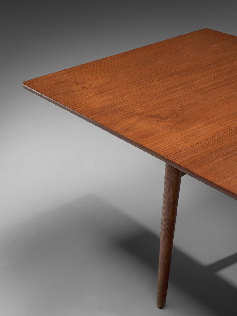 Mid-20th Century Hans Wegner for Andreas Tuck Extendable Table in Teak and Oak For Sale