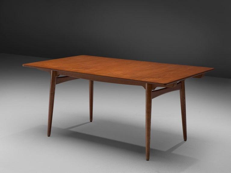 Hans Wegner for Andreas Tuck Extendable Table in Teak and Oak For Sale 2