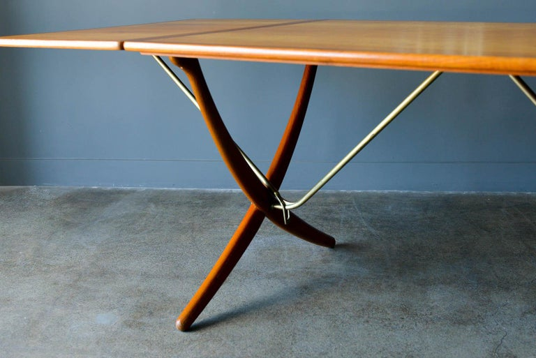 Brass Hans Wegner for Andreas Tuck Model AT-304 Dining Table, circa 1955 For Sale