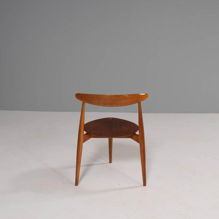 Danish Hans Wegner for Fritz Hansen FH4103 Beech & Teak Heart Dining Chair For Sale