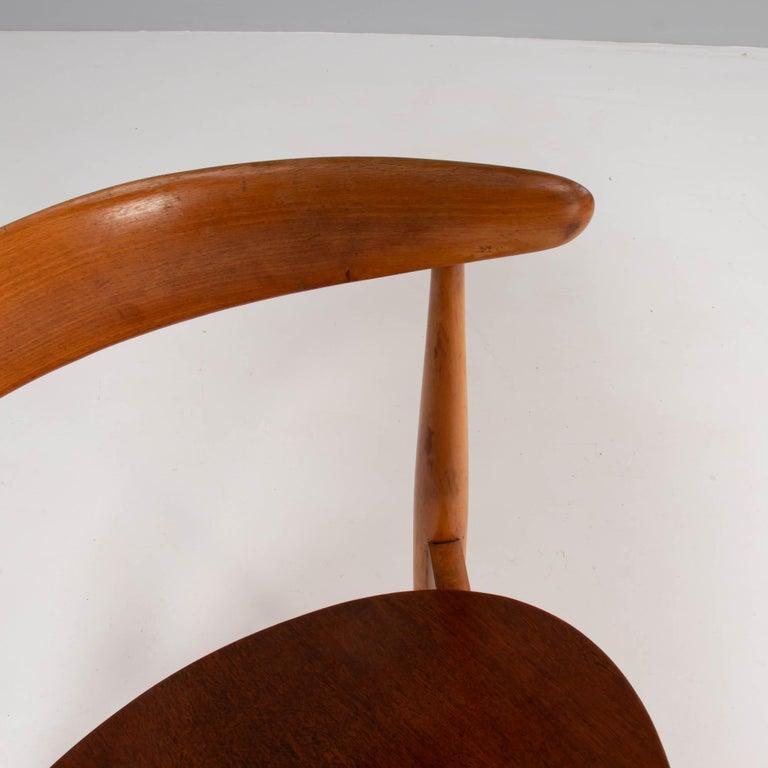 Hans Wegner for Fritz Hansen FH4103 Beech & Teak Heart Dining Chair In Good Condition For Sale In London, GB