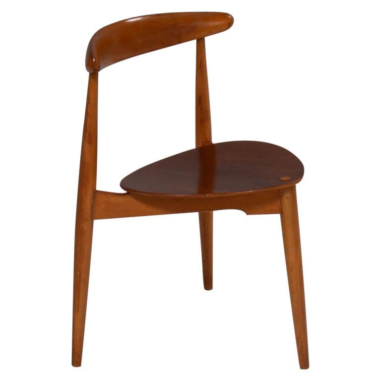 Hans Wegner for Fritz Hansen FH4103 Beech & Teak Heart Dining Chair For Sale