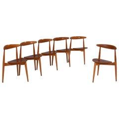 Hans Wegner for Fritz Hansen FH4103 Beech & Teak Heart Chairs, Set of 6