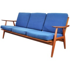 Hans Wegner Teak and Blue Wool Sofa