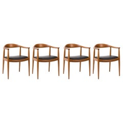 Hans Wegner for Johannes Hansen Oak & Black Leather Armchairs