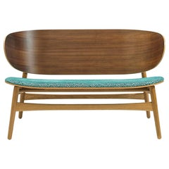 Hans Wegner GE-1935 Bench with Upholstered Seat, Lacquered Oak