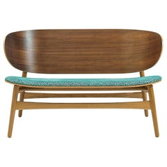 Hans Wegner GE-1935 Bench with Upholstered Seat, Stained Oak