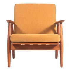 Hans Wegner GE-270 Lounge Chair with Dry Sunflower Canadian Wool