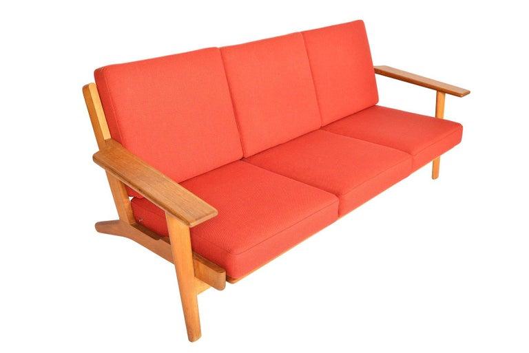 Danish Hans Wegner GE-290-3 Three-Seat Sofa in Oak For Sale