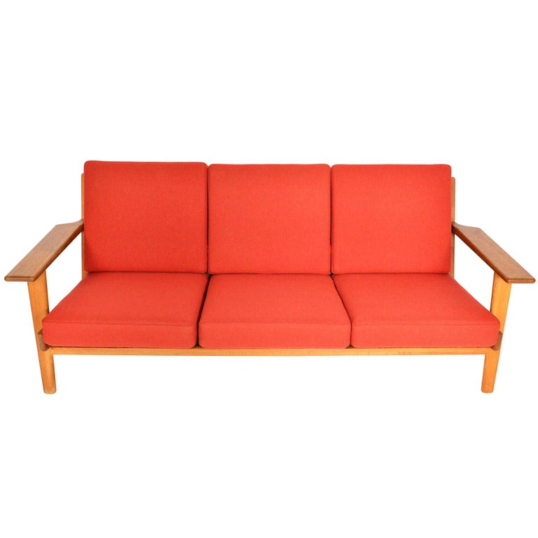 Hans Wegner GE-290-3 Three-Seat Sofa in Oak For Sale