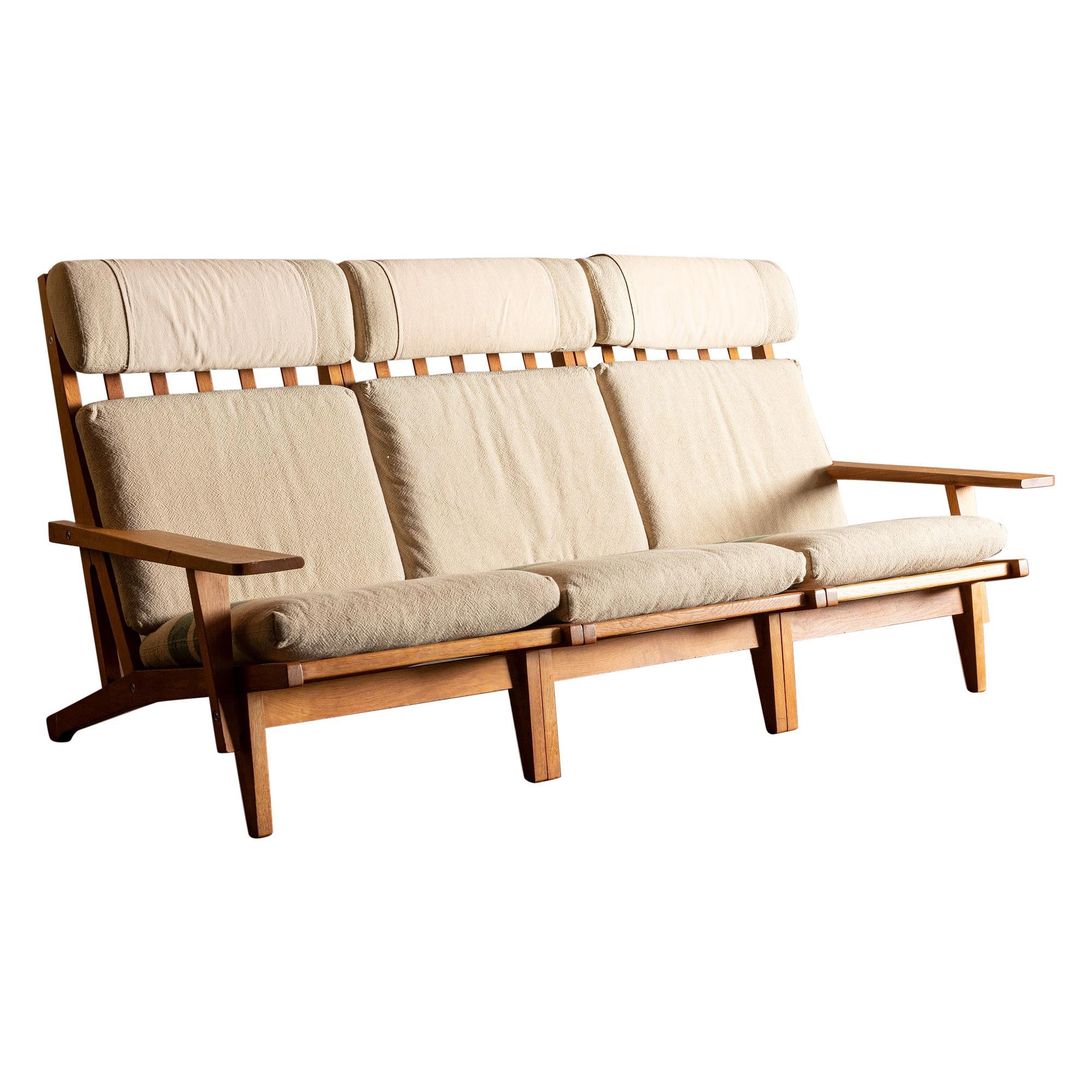 Hans Wegner GE 375 Three-Seat Sofa in Oak, Denmark, 1960s