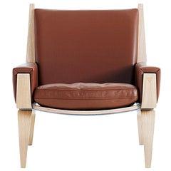 Hans Wegner GE-501 Lounge Chair, Lacquered Oak