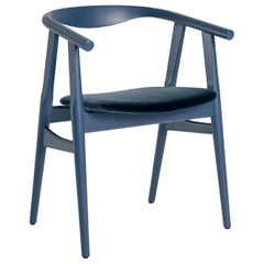 Hans Wegner GE-525 Dining Chair, Stained Beech - Wegner Blue - Harald 3 #182