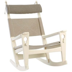 Hans Wegner GE-673 Keyhole Rocker in Canvas, Lacquered Beech