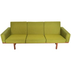 Hans Wegner GE236/3 Walnut Three-Seat Sofa
