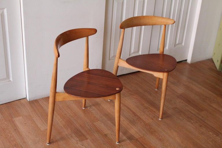 Scandinavian Modern Hans Wegner Heart Chairs For Sale