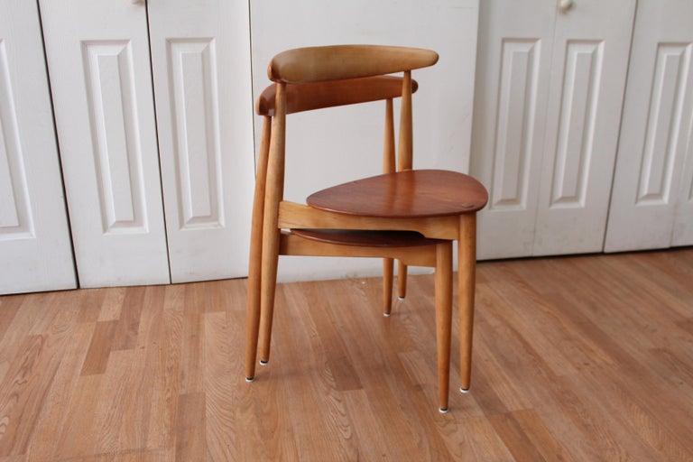 Beech Hans Wegner Heart Chairs For Sale