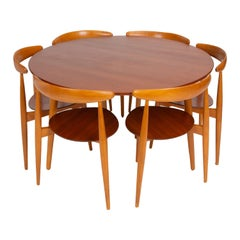 "Hans Wegner ""Hjertestolen"" Six-Seat Dining Set for Fritz Hansen"