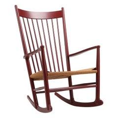 Hans Wegner J16 Rocking Chair in Burgundy