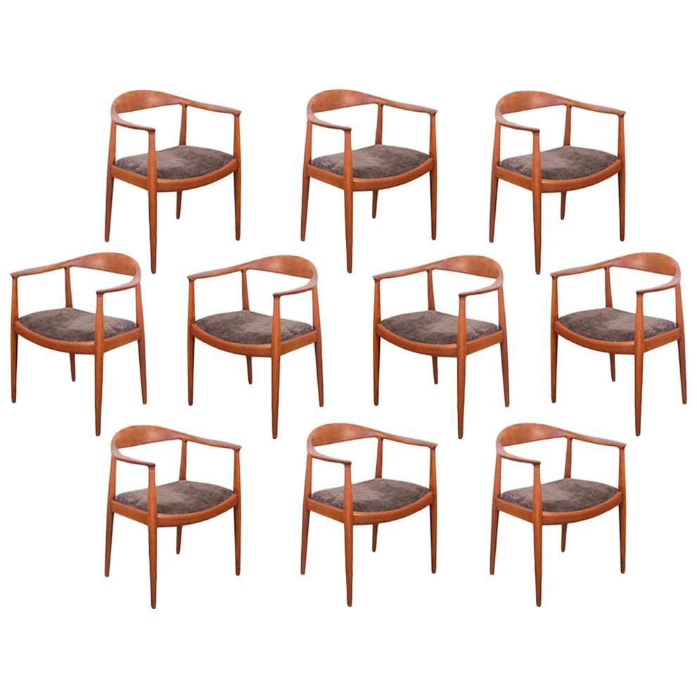 Hans Wegner JH-503 Round Chairs, Set of 10