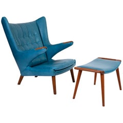Hans Wegner Leather Papa Bear Chair and Ottoman