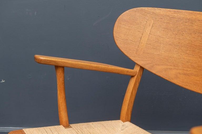 Teak Hans Wegner Lounge Chair CH 22 For Sale