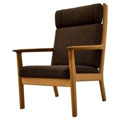Hans Wegner Mid-Century Modern Brown Danish Oak Lounge Chair