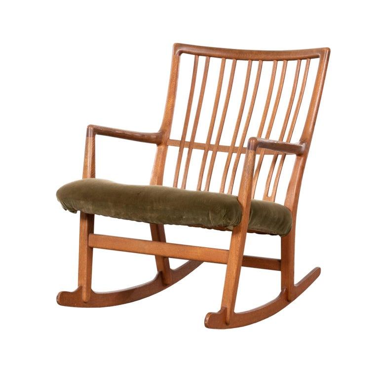 Hans Wegner ML33 Rocking Chair in Teak for Mikael Laursen, Denmark For Sale
