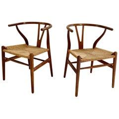 Hans Wegner Model CH24 Wishbone Chairs, pair
