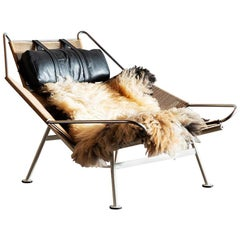 Hans Wegner Model GE 225 Flag Halyard Lounge Chair for Getama, Denmark, 1960s